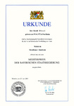 Urkunde Meisterpreis der bayerischen Staatsregierung